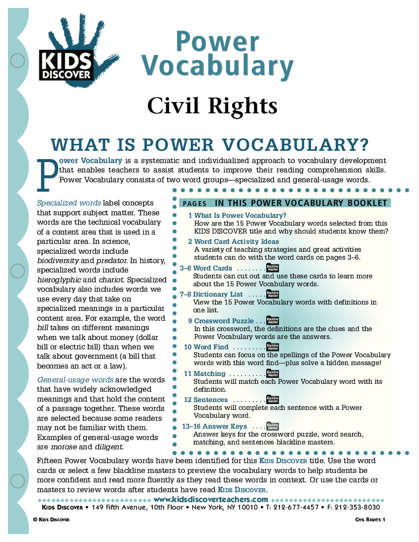 Civil Rights Kids Discover – Civil Rights Movement Worksheets