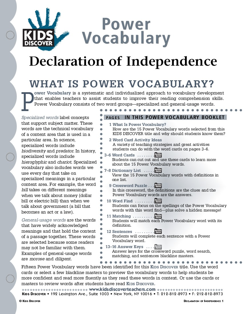 Declaration Of Independence Worksheets For Kids – Declaration of Independence Worksheet