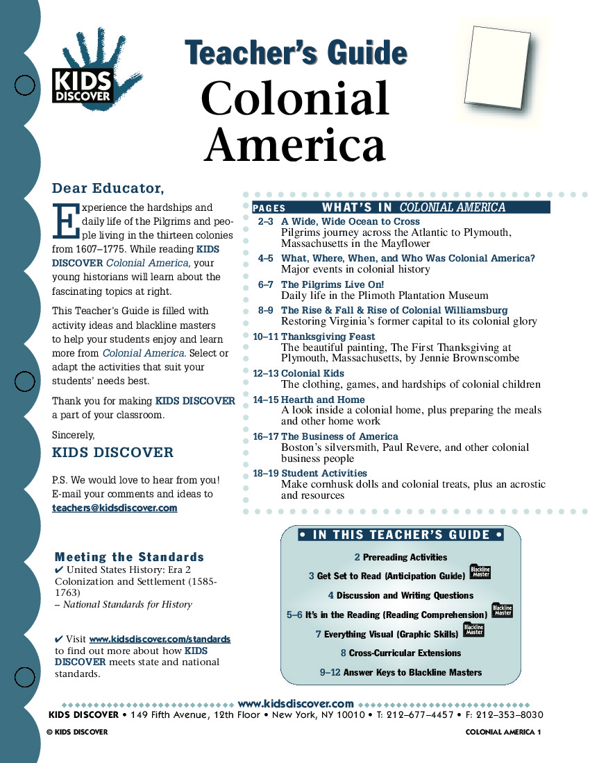 Worksheet Colonial America Worksheets colonial america kids discover tg 024 jpg