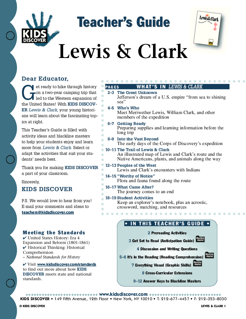 lewis and clark quick facts Journal excerpts are from the journals of the lewis and clark expedition, edited by gary e moulton 13 vols (lincoln: university of nebraska press, 1983-2001) 1998-2018 by discovering lewis & clark.